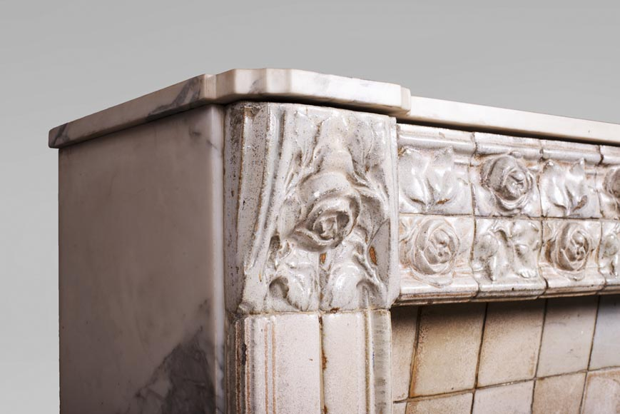 A. GENTIL and E. BOURDET (attributed to) - Antique Art Nouveau style fireplace in sandstone-3