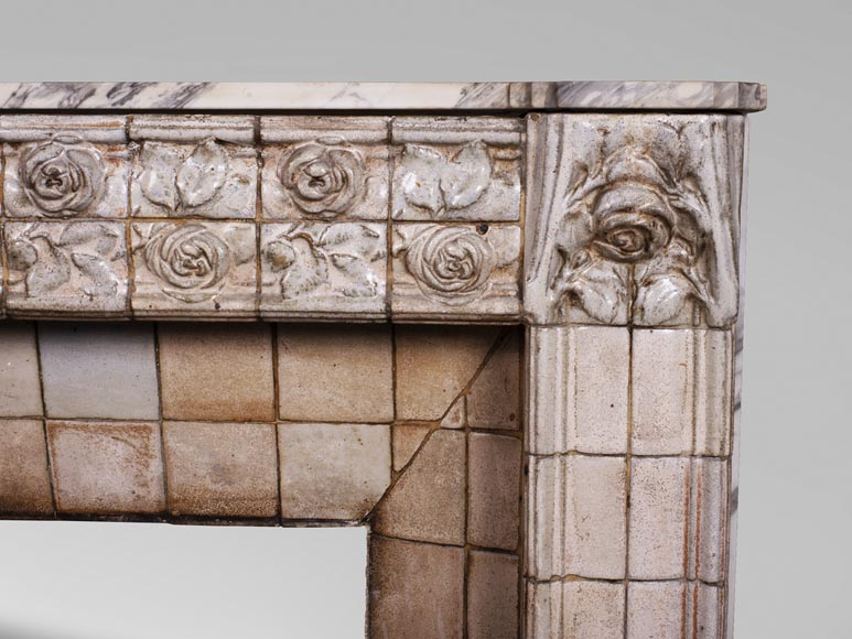 A. GENTIL and E. BOURDET (attributed to) - Antique Art Nouveau style fireplace in sandstone-6