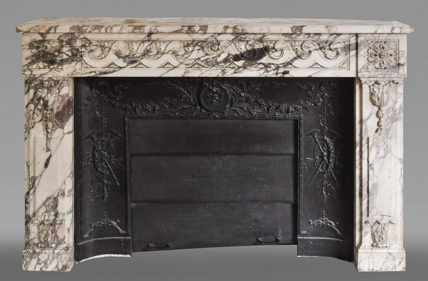 Antique Louis XVI style fireplace made out of Breche Violette marble-0