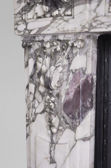 Antique Louis XVI style fireplace made out of Breche Violette marble-5