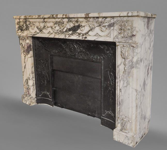 Antique Louis XVI style fireplace made out of Breche Violette marble-7
