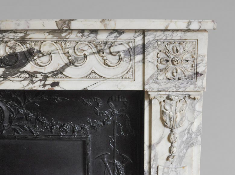 Antique Louis XVI style fireplace made out of Breche Violette marble-8