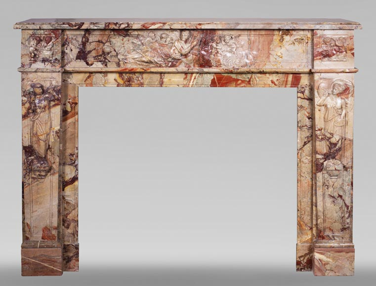 Antique neo-classical style Sarrancolin marble fireplace, richly carved on the theme of the arts-0