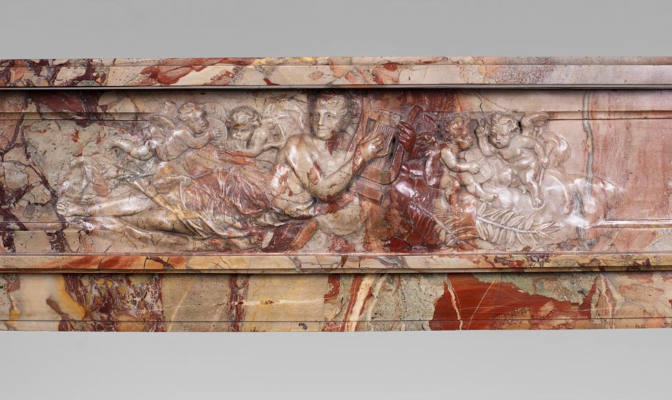 Antique neo-classical style Sarrancolin marble fireplace, richly carved on the theme of the arts-1