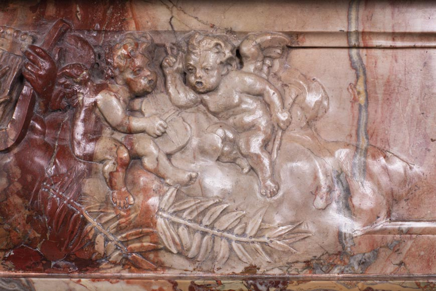 Antique neo-classical style Sarrancolin marble fireplace, richly carved on the theme of the arts-3