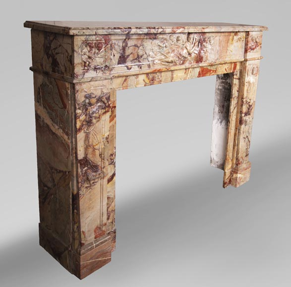 Antique neo-classical style Sarrancolin marble fireplace, richly carved on the theme of the arts-4
