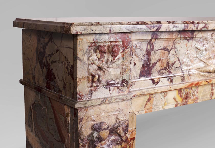 Antique neo-classical style Sarrancolin marble fireplace, richly carved on the theme of the arts-5