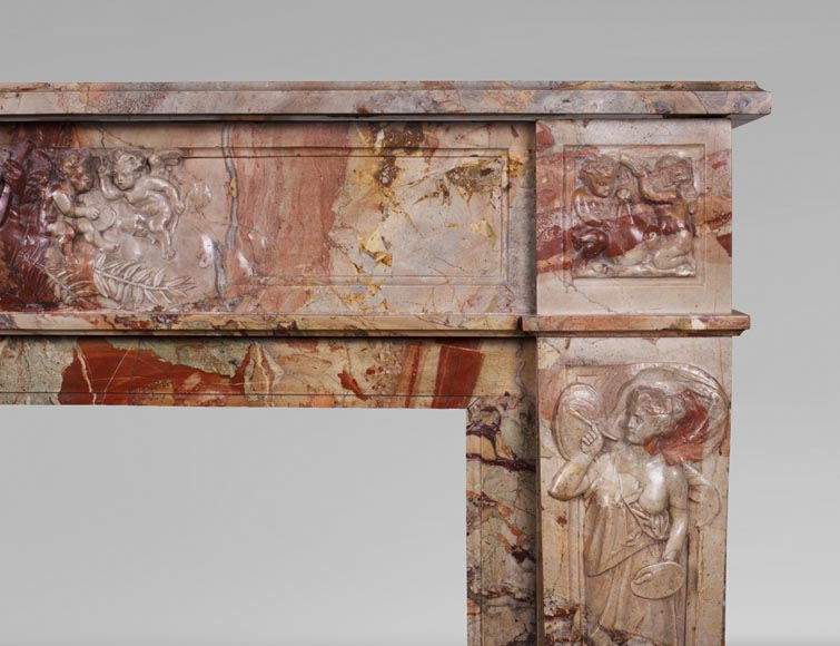 Antique neo-classical style Sarrancolin marble fireplace, richly carved on the theme of the arts-10