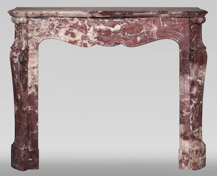 Antique Louis XV style fireplace, Pompadour in Fleur de Pêcher marble-0