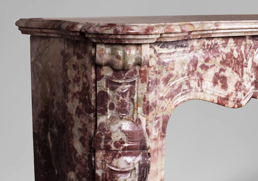 Antique Louis XV style fireplace, Pompadour in Fleur de Pêcher marble-3