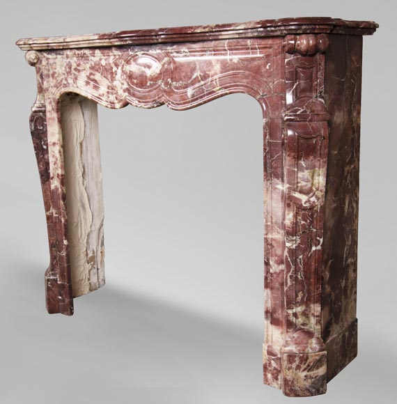 Antique Louis XV style fireplace, Pompadour in Fleur de Pêcher marble-5