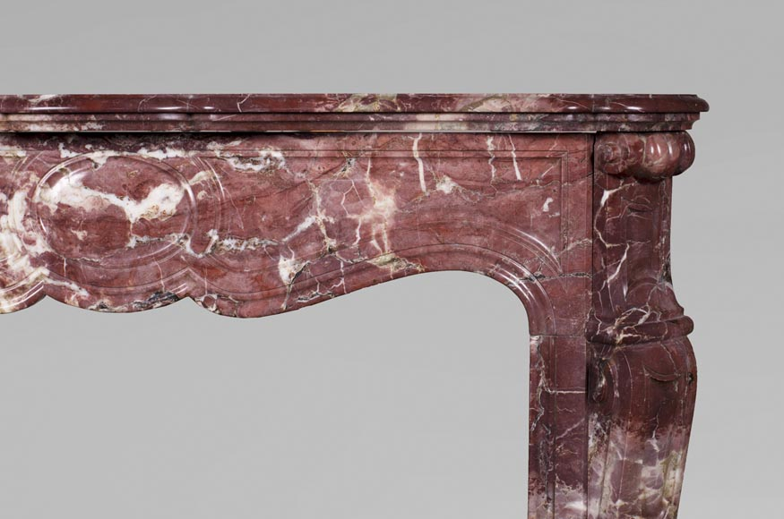 Antique Louis XV style fireplace, Pompadour in Fleur de Pêcher marble-6