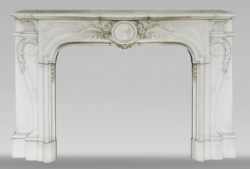 Antique Napoleon III fireplace with a woman's profile decoration in a medallion-0