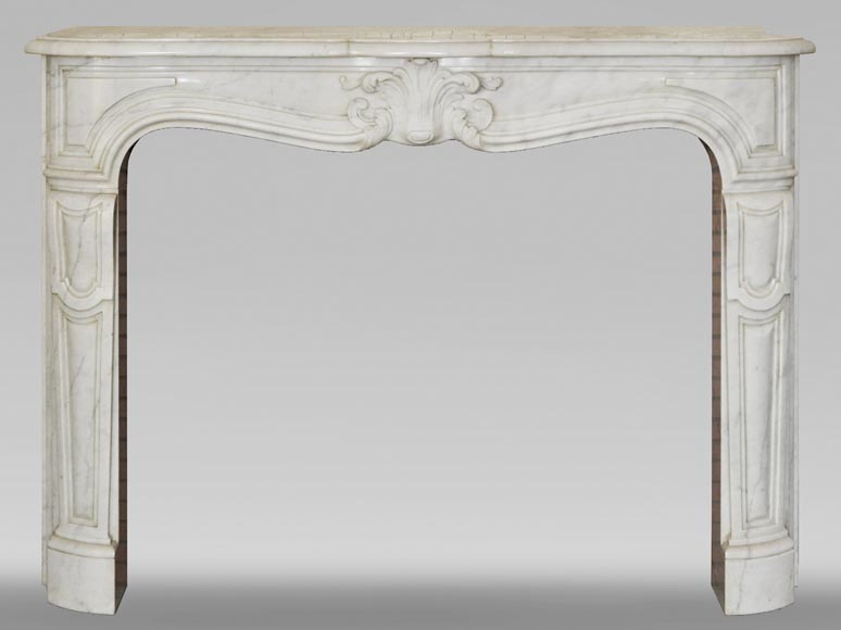 Louis XV style white marble mantel from the 20th century-0