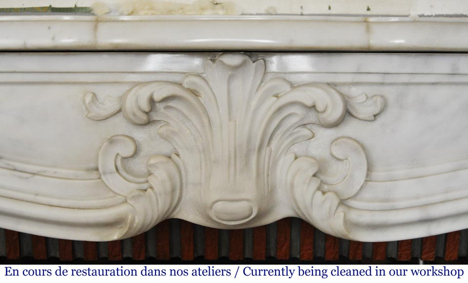 Louis XV style white marble mantel from the 20th century-1