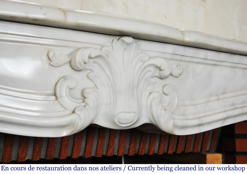 Louis XV style white marble mantel from the 20th century-2