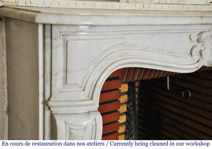 Louis XV style white marble mantel from the 20th century-4