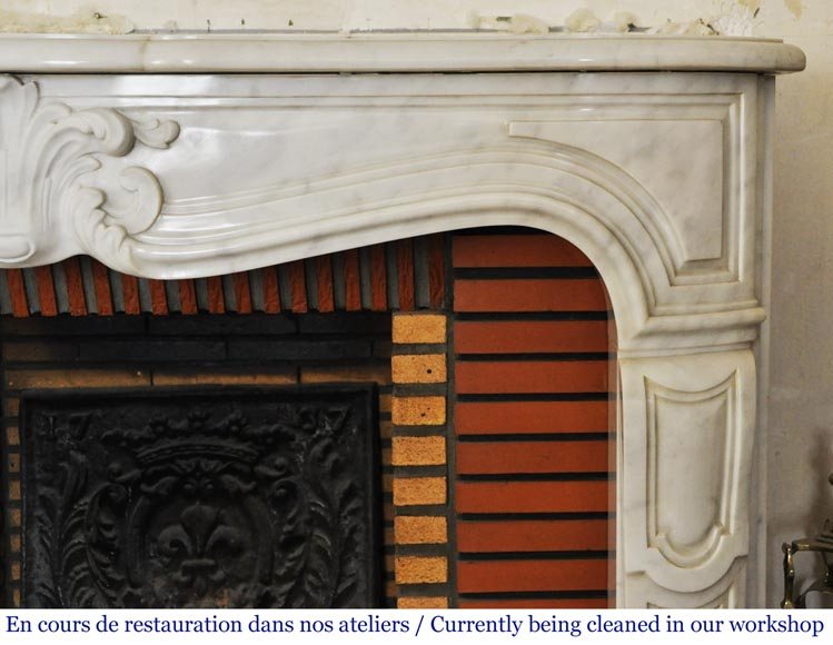 Louis XV style white marble mantel from the 20th century-7