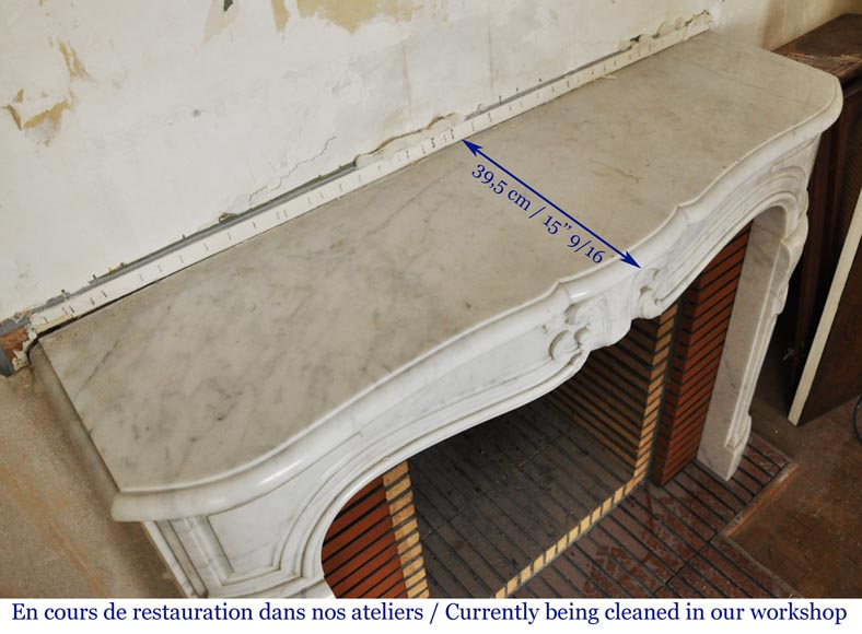 Louis XV style white marble mantel from the 20th century-9