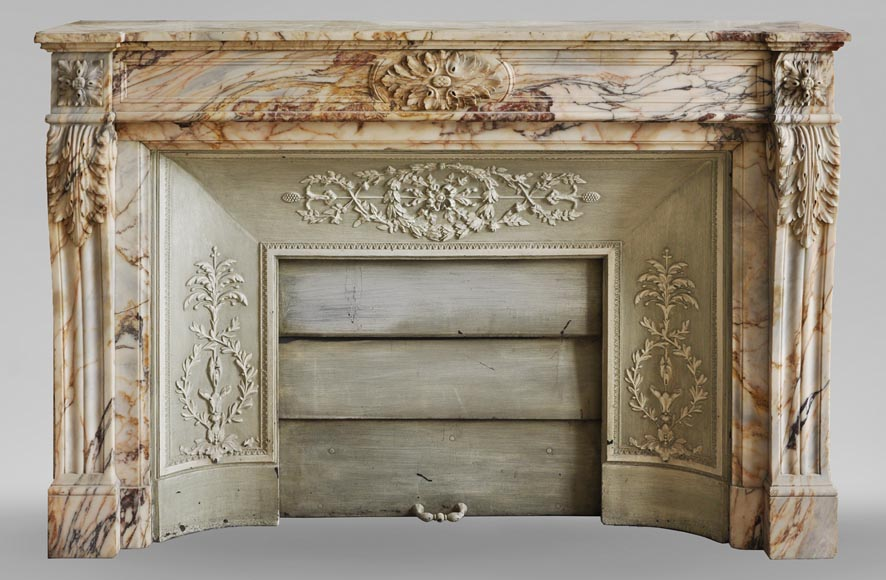 An antique Louis XVI style fireplace in Onyx marble-0