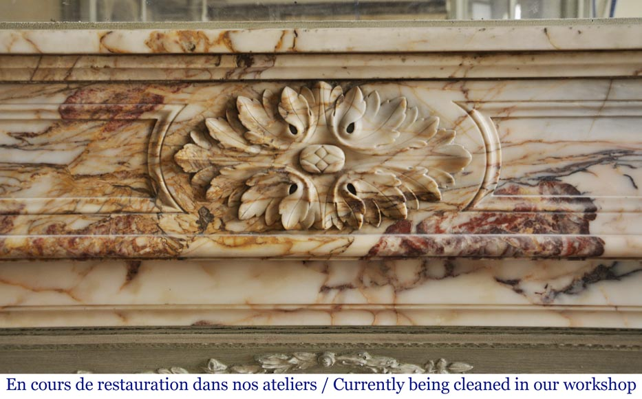 An antique Louis XVI style fireplace in Onyx marble-1