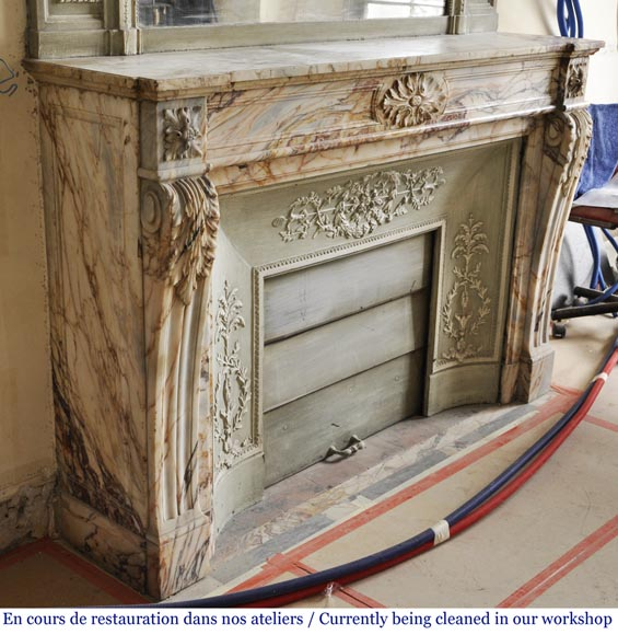 An antique Louis XVI style fireplace in Onyx marble-2