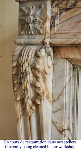 An antique Louis XVI style fireplace in Onyx marble-4