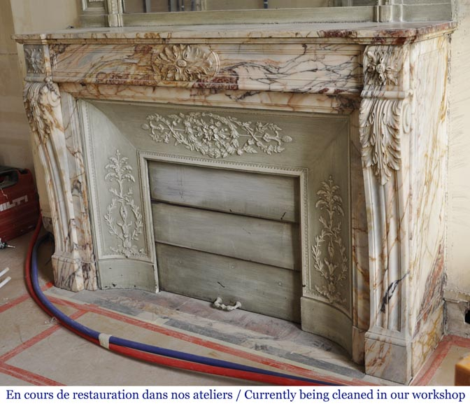 An antique Louis XVI style fireplace in Onyx marble-6