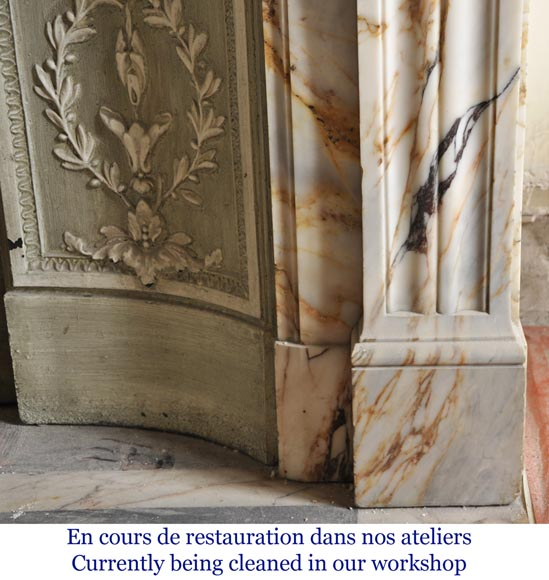 An antique Louis XVI style fireplace in Onyx marble-8