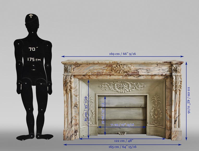 An antique Louis XVI style fireplace in Onyx marble-11