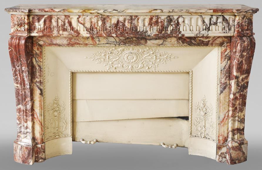 Antique Louis XVI style mantel with rudentures in red Onyx-0