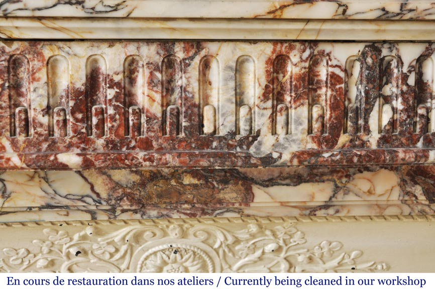 Antique Louis XVI style mantel with rudentures in red Onyx-1
