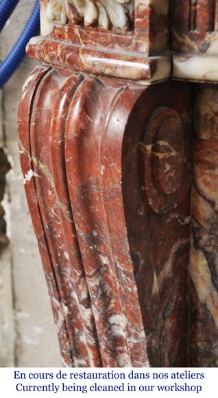 Antique Louis XVI style mantel with rudentures in red Onyx-4