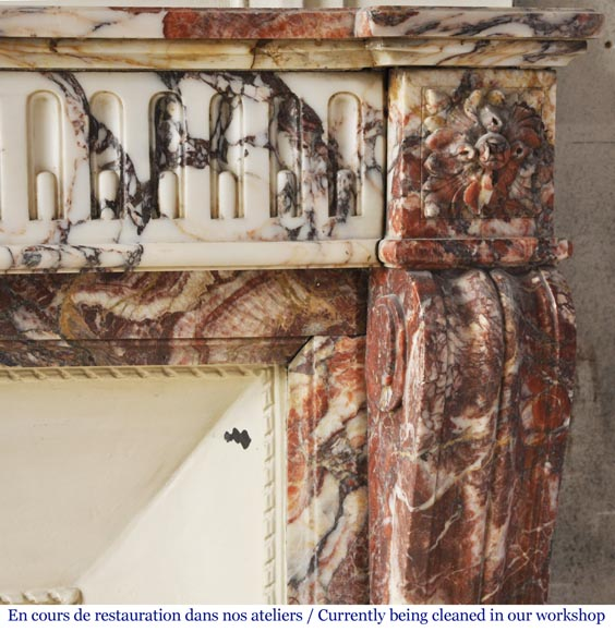 Antique Louis XVI style mantel with rudentures in red Onyx-6