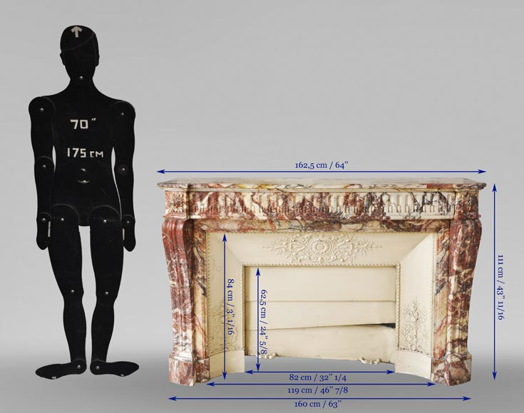 Antique Louis XVI style mantel with rudentures in red Onyx-9