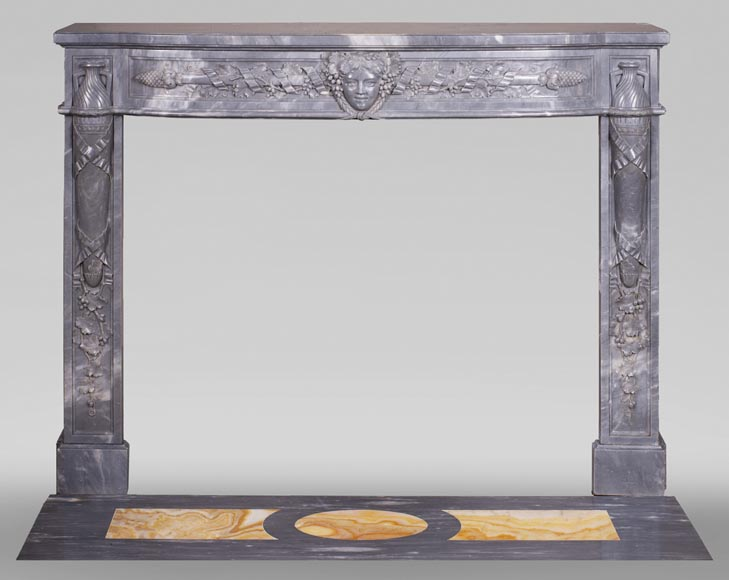 Antique Turquin Blue marble mantel with a wine theme-0