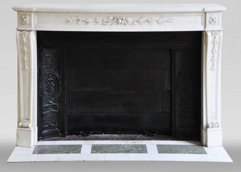 Antique Louis XVI style fireplace made of semi statuary marble decorated with laurel branches-0