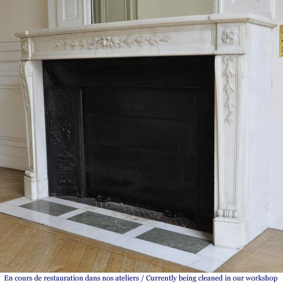 Antique Louis XVI style fireplace made of semi statuary marble decorated with laurel branches-5