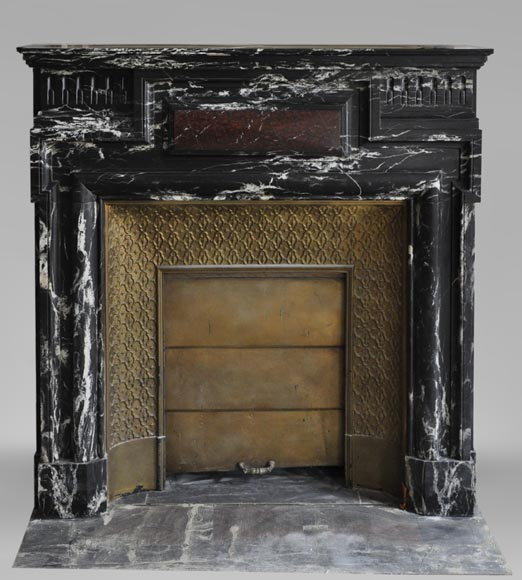 Beautiful antique Louis XIV style fireplace with acroterion, Black Marquina marble, with a Red Griotte marble inlay-0