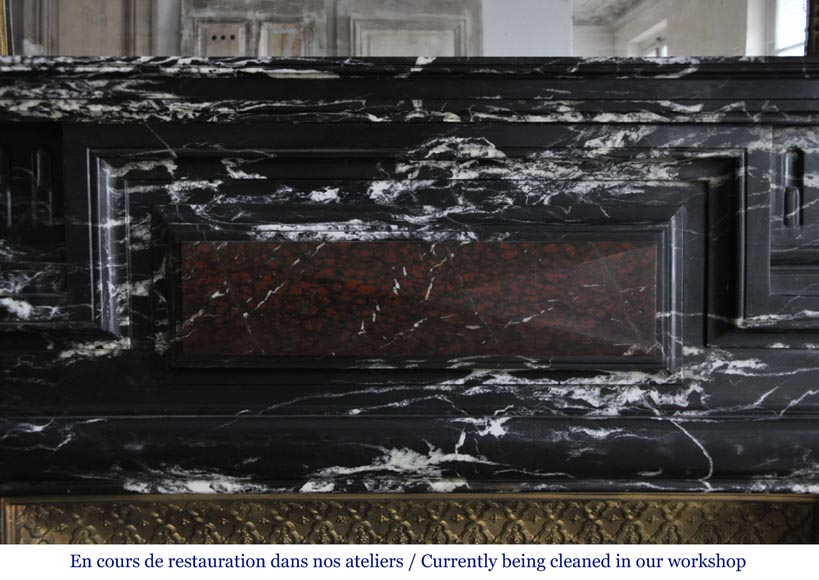 Beautiful antique Louis XIV style fireplace with acroterion, Black Marquina marble, with a Red Griotte marble inlay-1