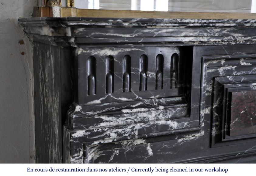Beautiful antique Louis XIV style fireplace with acroterion, Black Marquina marble, with a Red Griotte marble inlay-3
