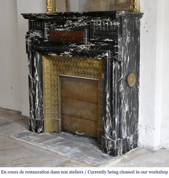 Beautiful antique Louis XIV style fireplace with acroterion, Black Marquina marble, with a Red Griotte marble inlay-5