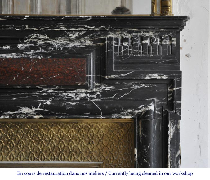 Beautiful antique Louis XIV style fireplace with acroterion, Black Marquina marble, with a Red Griotte marble inlay-6