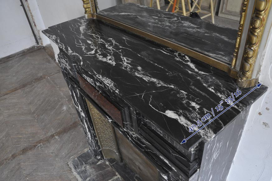 Beautiful antique Louis XIV style fireplace with acroterion, Black Marquina marble, with a Red Griotte marble inlay-9