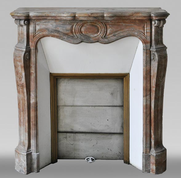 Antique Louis XV style fireplace, Pompadour model made out of Enjugerais marble-0