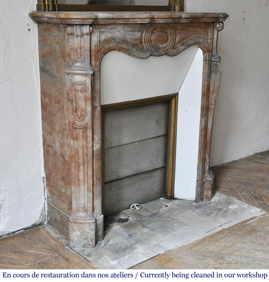 Antique Louis XV style fireplace, Pompadour model made out of Enjugerais marble-1