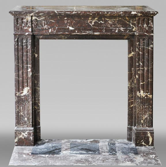 Antique Louis XVI style fireplace in Rouge du Nord marble-0