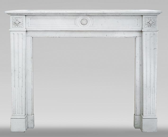 Louis XVI style fireplace in Carrara marble-0