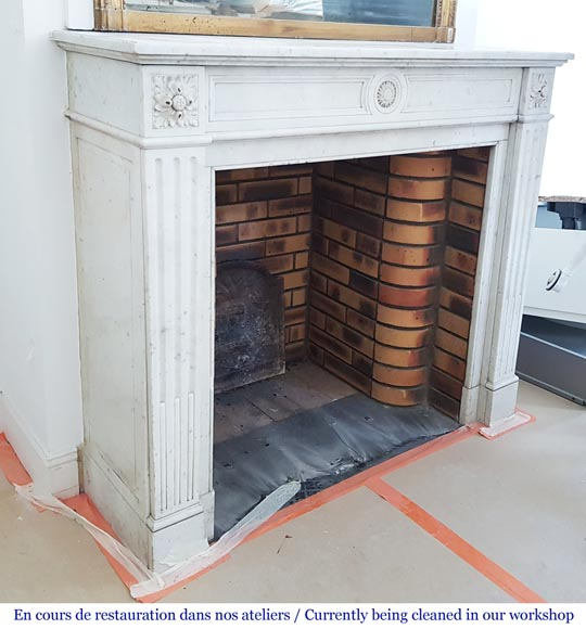 Louis XVI style fireplace in Carrara marble-1