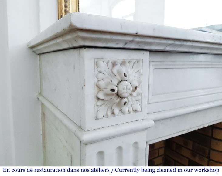 Louis XVI style fireplace in Carrara marble-2
